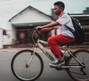 Photo of a person riding a bicycle
