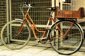 Photo of an orange bicycle