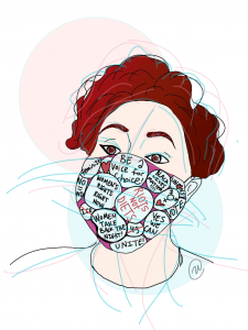 Illustration of author Adrianna L. Ernstberger wearing a face mask with feminist sayings on it