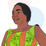 Illustration of author Akosua K. Darkwah wearing a colorful dress, head facing slightly to the side, by Nicole Carter