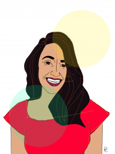 Illustration of author Amy Bhatt, wearing a red dress, and a big smile, by Nicole Carter