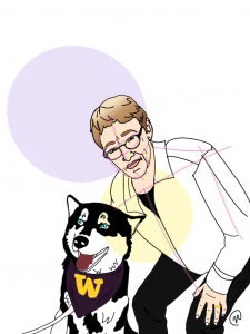 Illustration of author Judith Howard, leaning over a husky wearing a scarf with a W, by Nicole Carter