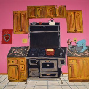 Kitchen Top, art by Kandace Creel Falcón, shows a stove with a pot on top of it, counters and cupboards.