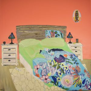 A Lesbian Marriage, art by Kandace Creel Falcón, shows a bed with green sheets and pillows and a colorful bed covering with flowers on it.