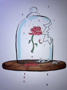 Not Your Beauty, art by Madeleine Jenness, shows a broken glass bell jar with a rose inside, on a wooden base with a dagger and red drops dripping off the edge