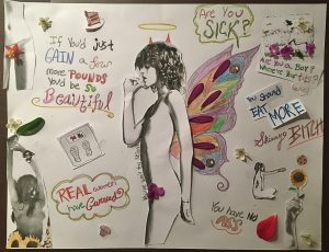 Sins of the Skinny Body, art by Meranthy Meza, shows a thin young woman with butterfly wings, horns, and a halo, among a collection of pictures and comments about being skinny