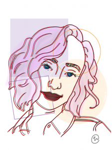 Illustration of Nicole Carter with head slightly tilted