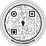 Circle QR code with Black Lives Matter fist in the middle and Black Lives Matter written on the bottom of the circle