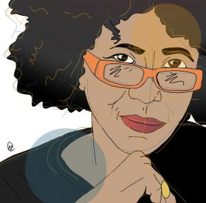 Illustration of author Beverly Guy Sheftall with her orange glasses slightly below her eyes, and her chin resting pensively resting on her right hand