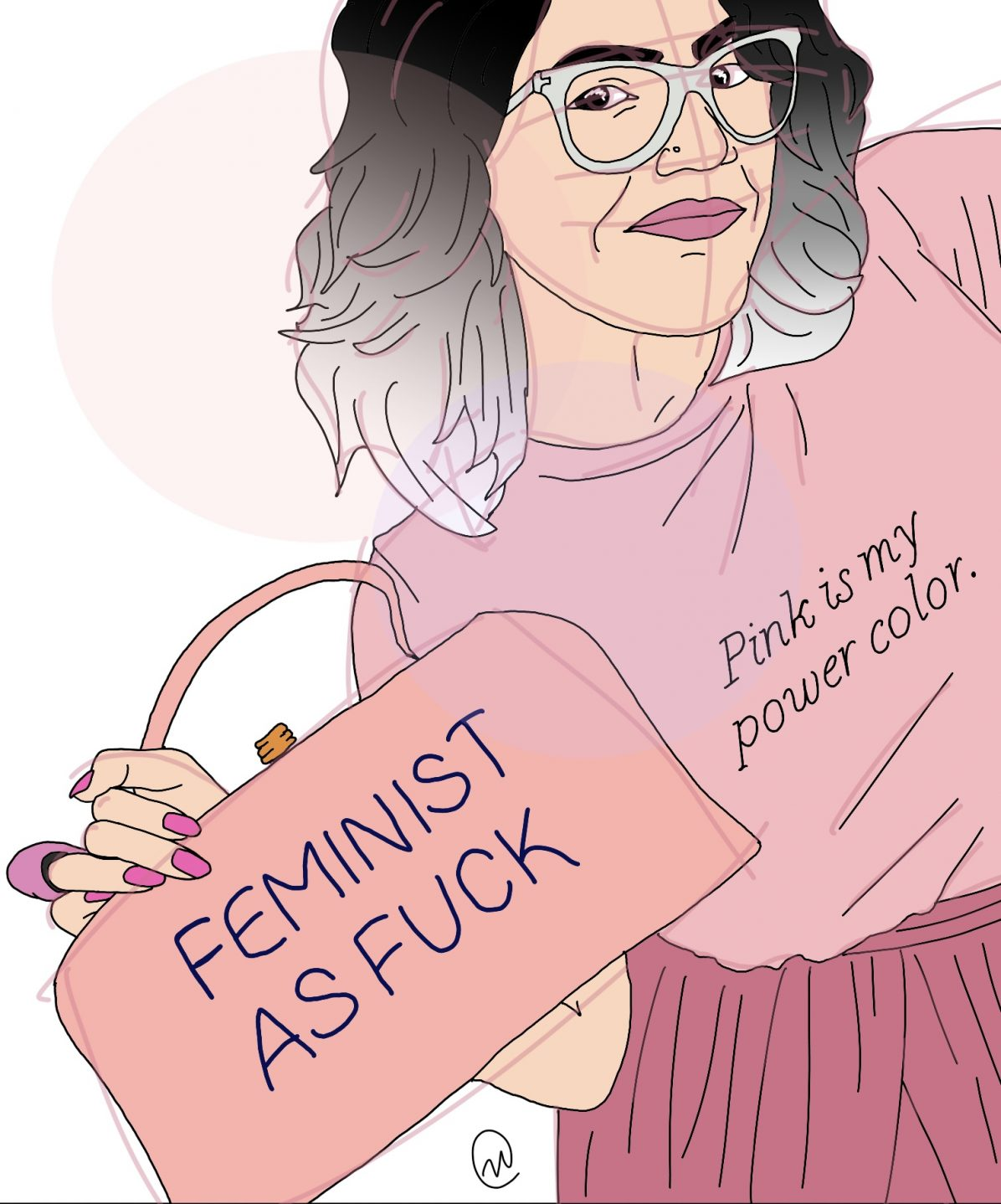 "Illustration of author Carmen Rios wearing a pink shirt that says ""Pink is my power color."" The shirt is tucked into something pink, and she is holding a pink purse that says ""FEMINIST AS FUCK"" in all caps, with her hand that has pink finger nails and a pink ring, which matches her pink lipstick."
