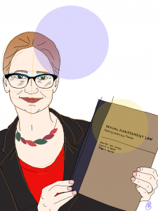 "Illustration of author Carrie Baker holding her co-authored book ""Sexual Harassment Law: History, Cases, and Practice"""