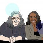 Illustration of co-authors Cheryl Radeloff (L) and Michele Tracy Berger (R) leaning forward on a table, as if about to present at a conference