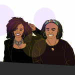 "Illustration of co-authors, Donielle Pace (L) and NaTasha Robinson (R). They are sitting at a conference table with name tags for the ""National Council for Black Studies"""