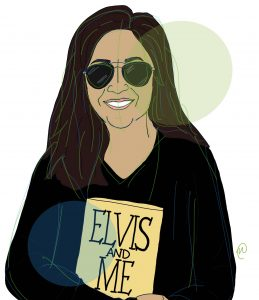 "Illustration of co-author Elena Tajima Creef, wearing sun glasses and a black long sleeve shirt, holding a book called ""Elvis And Me."""