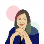 Illustration of author Erika Márquez-Montaño with her hands folded below her chin and a serious look in her eyes