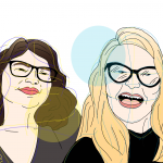 Illustration of co-authors Lori Loftin (L) and Temperance Russell (R) in a selfie pose.