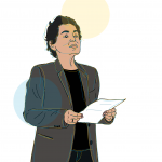 Illustration of author Lourdes Torres holding a piece of paper, looking up, as if toward an audience or classroom