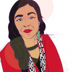 Illustration of author Luhui Whitebear in red shirt, long white and black necklace, and one earring showing