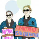 """Illustration of two people holding signs for a march. The one on the left, held by co-author Nicole Morse, says """"No Pink-Washing,"""" and the one on the right says """"Apartheid is Never Kosher."""""""