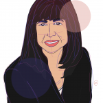 Illustration of co-author Rosanna Hertz looking forward