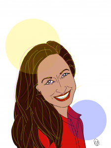 Illustration of author Shereen Siddiqui in a red outfit, with a big smile on her face