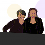 "Illustration of co-authors Sonja Andrews (L) and Brea Stevenson (R). They are sitting at a conference table with name tags for the ""National Council for Black Studies."""