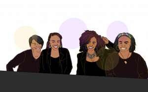 """Illustration of co-authors, from left to right, Sonja Andrews, Brea Stevenson, Donielle Pace, and NaTasha Robinson. They are all sitting at a conference table with name tags for the """"National Council for Black Studies"""""""