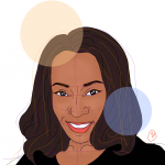 Illustration of author Stephanie Sears in a black shirt, looking forward