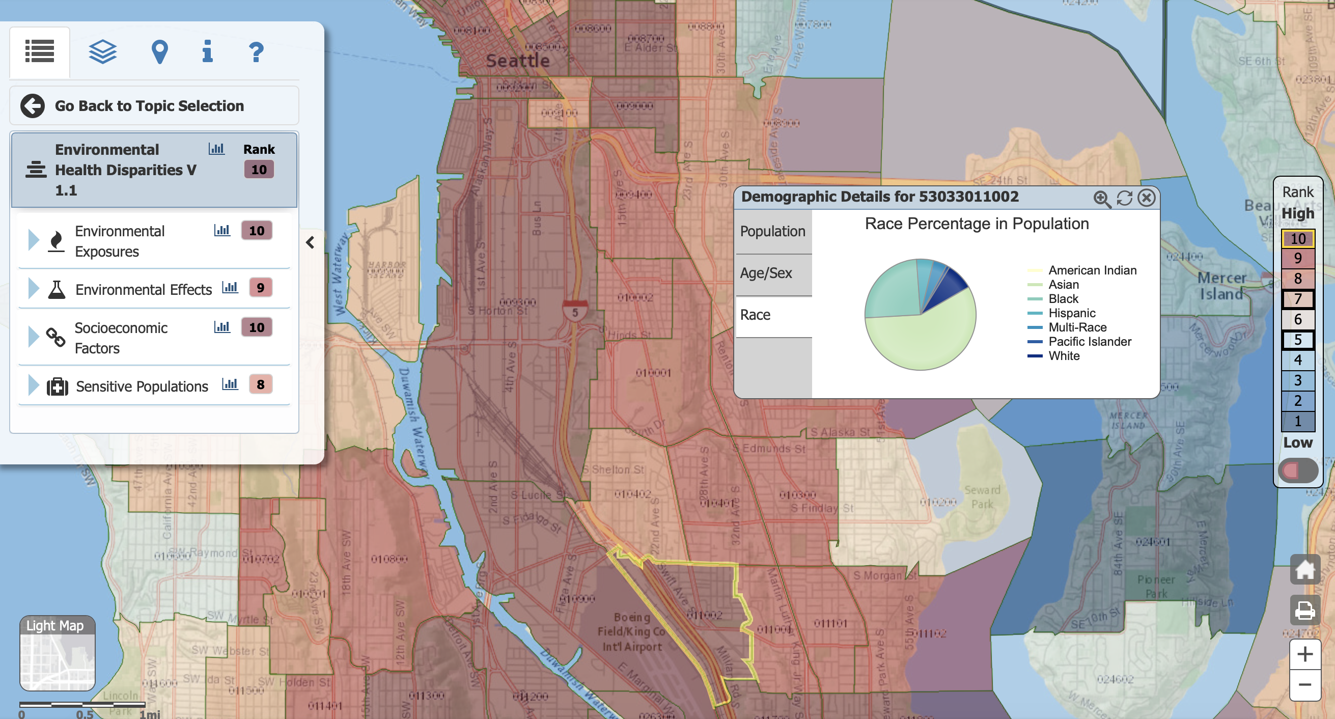 Screenshot from the interactive map.