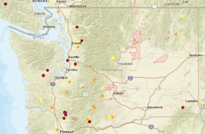 Interactive map showing current wildfires in Washington