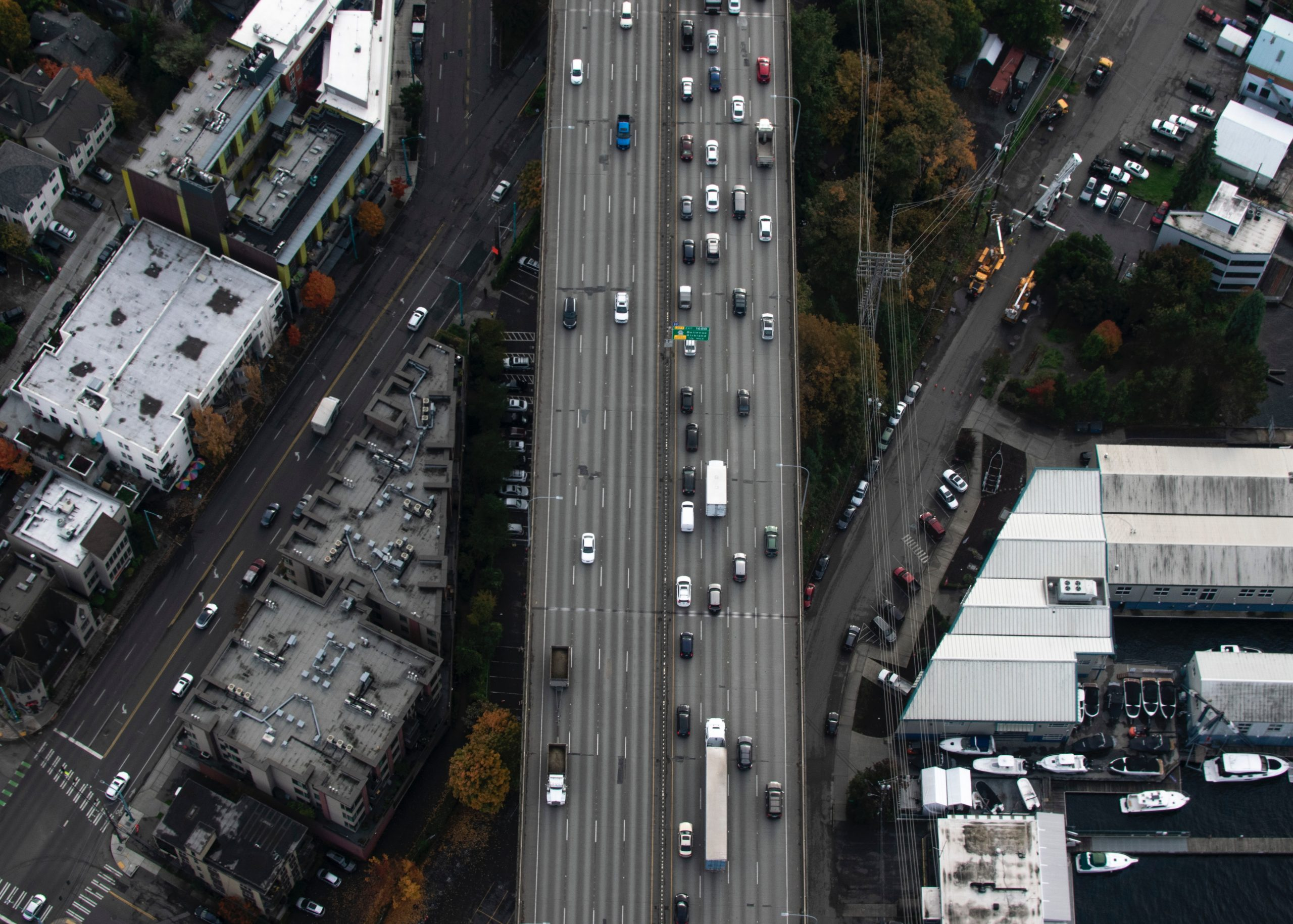 aerial image of the I5 highway