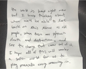 Photo of handwritten note to a friend