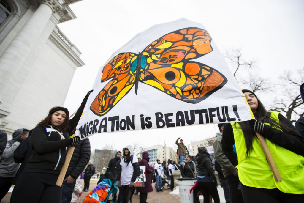 Latinos protest immigration bills and demonstrate their contribution to the Wisconsin economy outside the state Capitol building in Madison, Wis., on Feb. 18, 2016 during the 'Dia Sin Latinos' or Day Without Latinos, event.