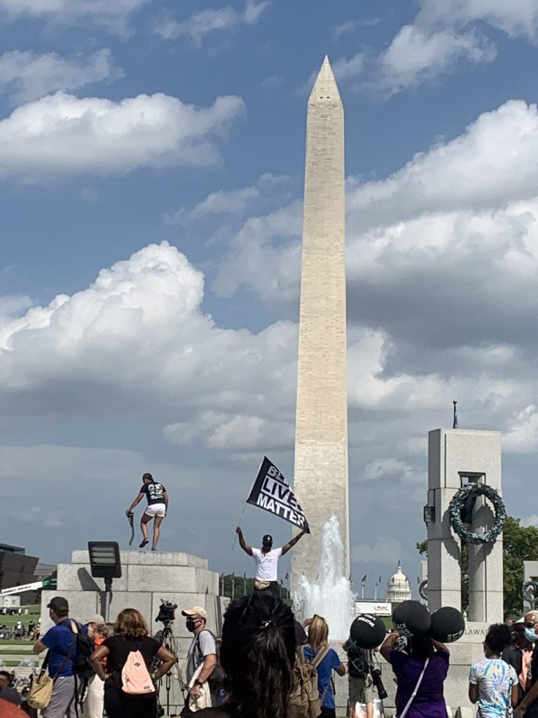 Black Lives Matter protestors assemble in Washington, D.C. at Washington Monument