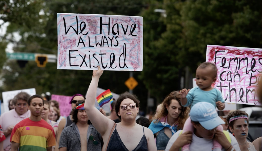 Transgender and non-binary people and their allies participate in the Gay Pride's Transgender Rights march in Atlanta in October 2019.
