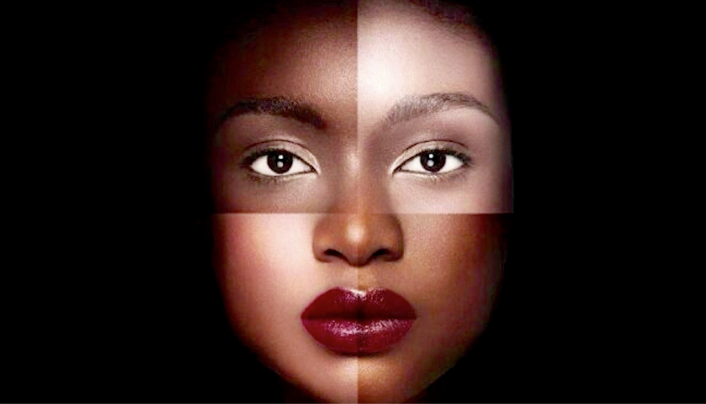 Human face with collage of images of various shades to illustrate message of 'color-ism' as example of discrimination based on skin color
