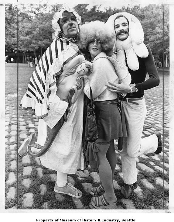 1975 photograph of three costume contest participants