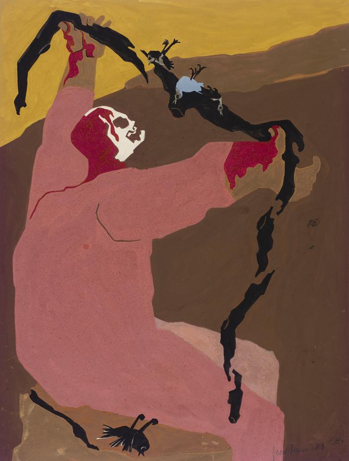 Bloodied, skeletal man twists crows' elongated dead bodies in front of a dessert landscape