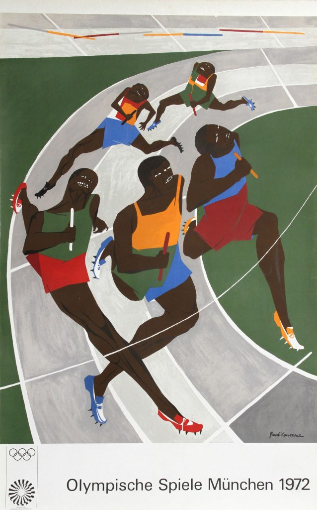 Poster for 1972 Munich Olympic Games, design by Jacob Lawrence