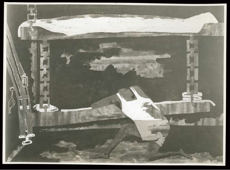 Black and white photograph of a painting showing a soldier in a tank top on his knees draped over his bunk
