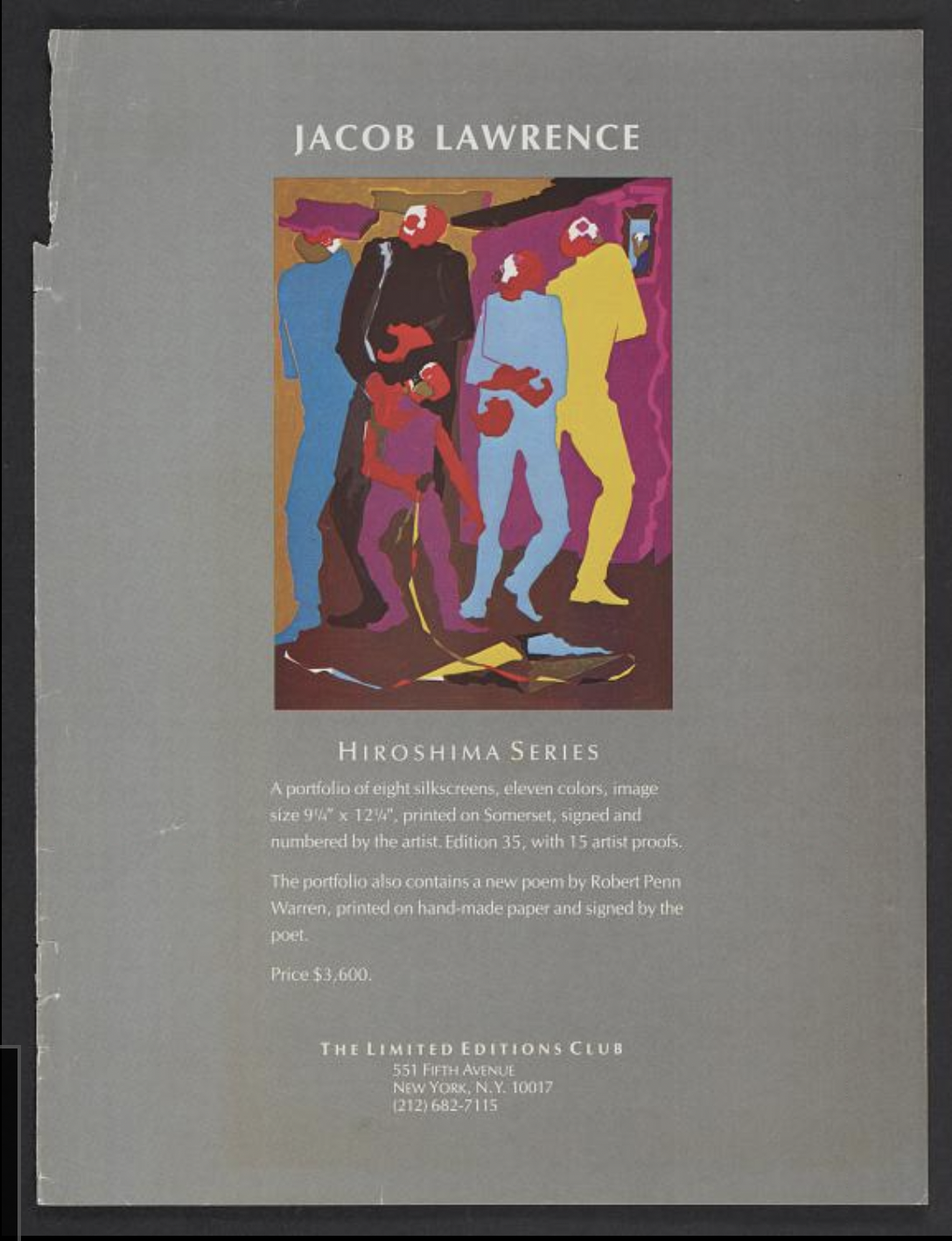 Photograph of portfolio jacket including Lawrence's Boy with Kite (1983) from Hiroshima series with text explaining dimensions of the silk screen prints and that there is a poem by Robert Penn Warren.