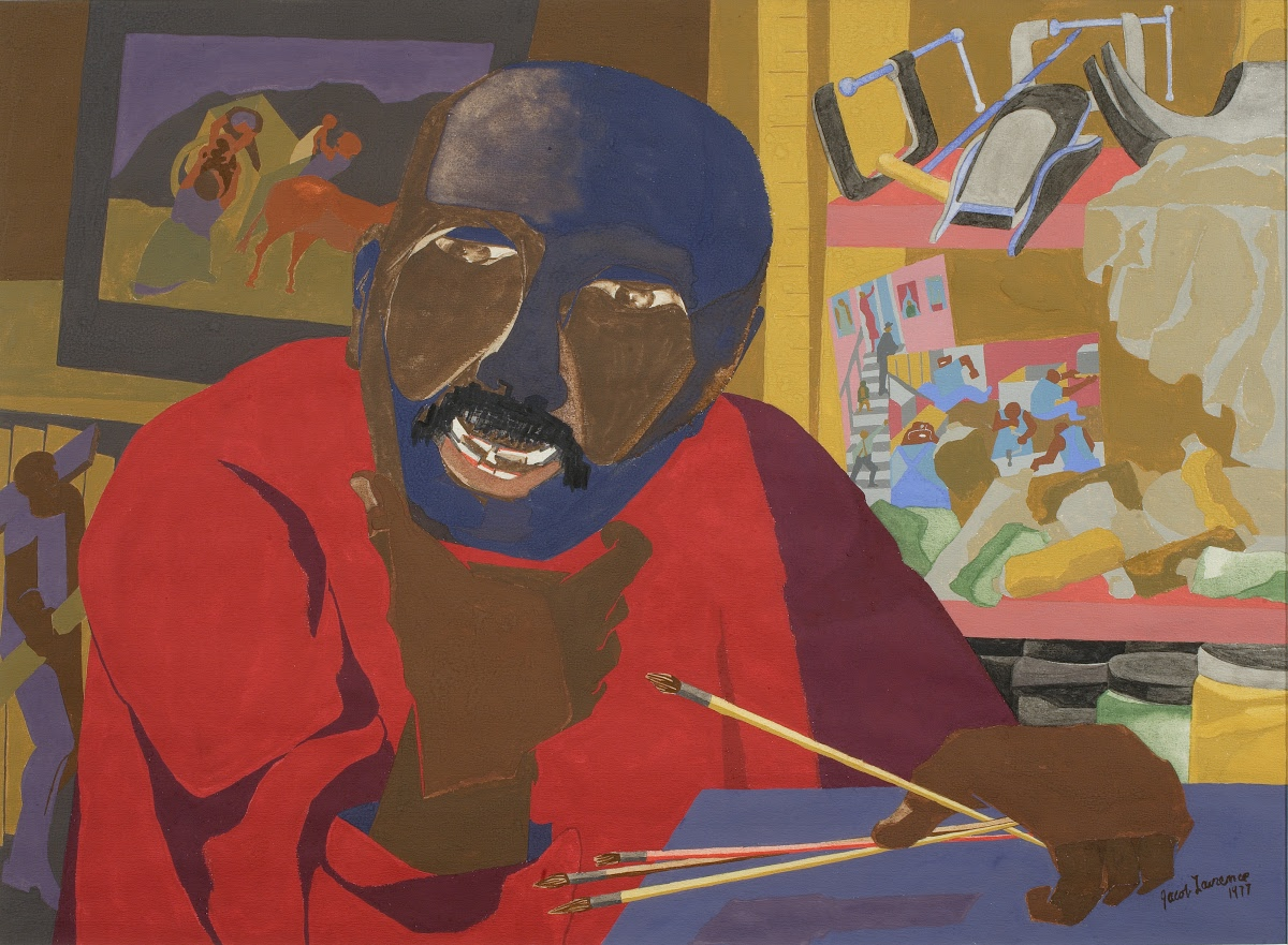 Jacob Lawrence sitting down for a self portrait